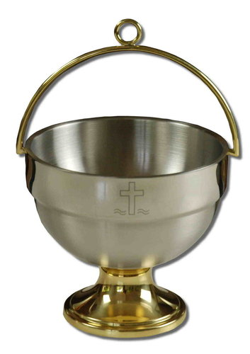 Holy water bucket stainless stell/brass